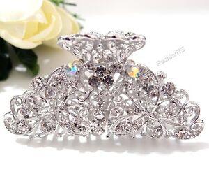 fashion bridal dual butterfly white silver metal hair claw clip pins durable new ebay