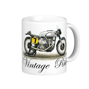 VINTAGE 1952 NORTON MANX 500cc MOTOR BIKE QUALITY 11oz WHITE MUG | eBay