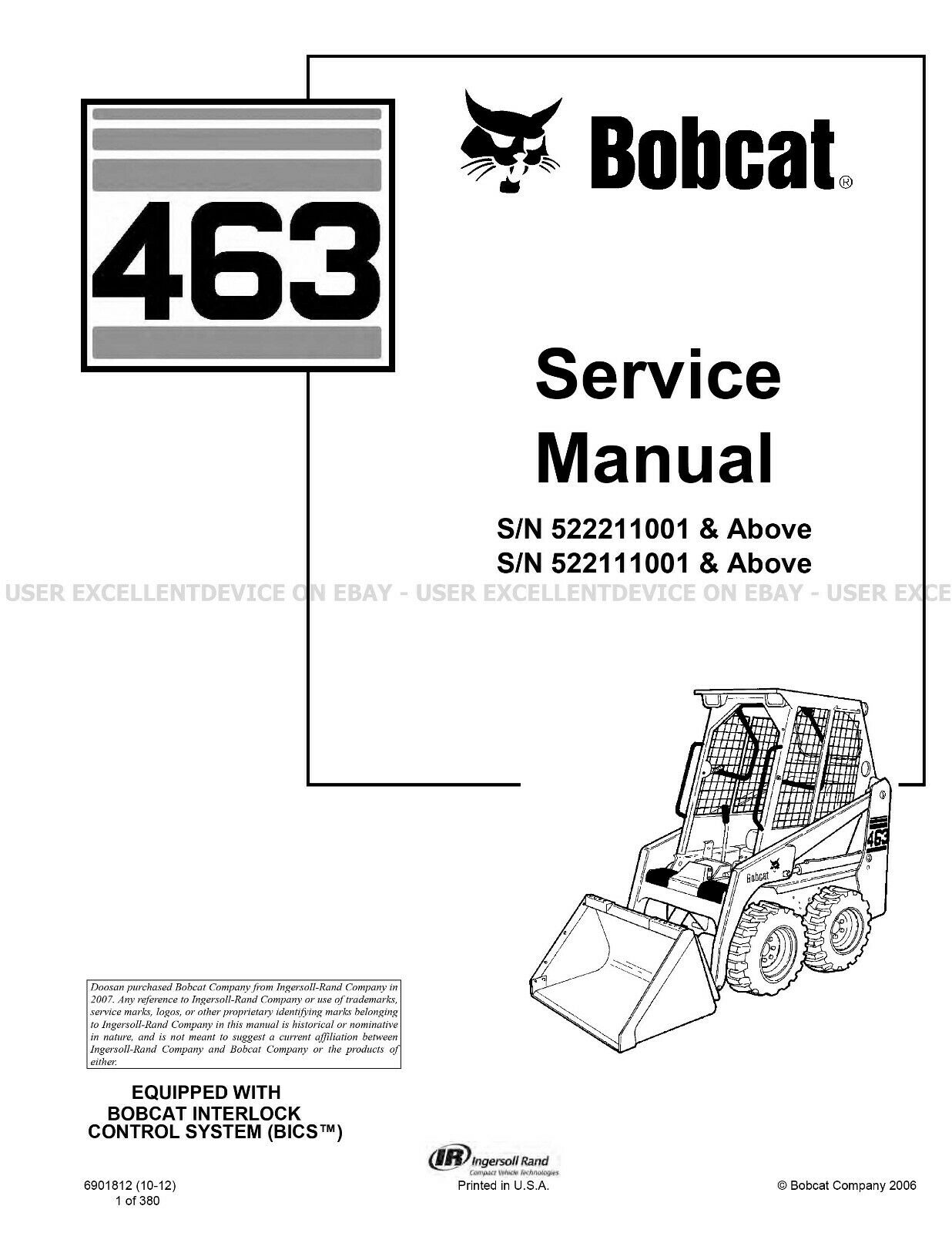 Bobcat 463 Revision 2012 Update Skid Steer Loader Printed