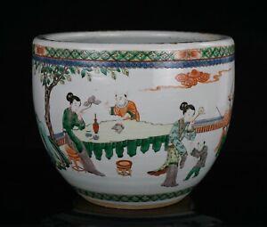 A LARGE Antique Chinese Famille Verte Porcelain Fish Bowl Jardiniere Pot 19th C