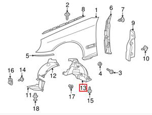 MB C-CLASS W203 New Genuine Front Left Inner Fender Rear