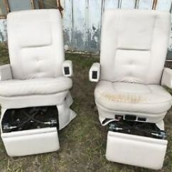 Rv Captain Chair Seat Covers Biokinesis Exercises For Seniors Dvd Flexsteel S Chairs Seats Pair Cream Motorhome Coach Used Image Is Loading 039