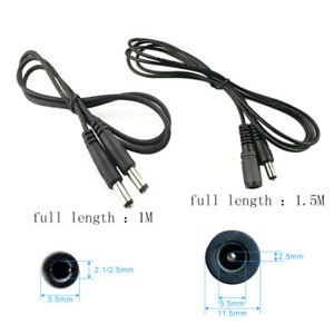 1/1.5m DC Extension Power Cord Cable Indoor Wire Security