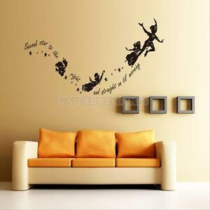 hot tinkerbell star peter pan wall decal kids room art mural home