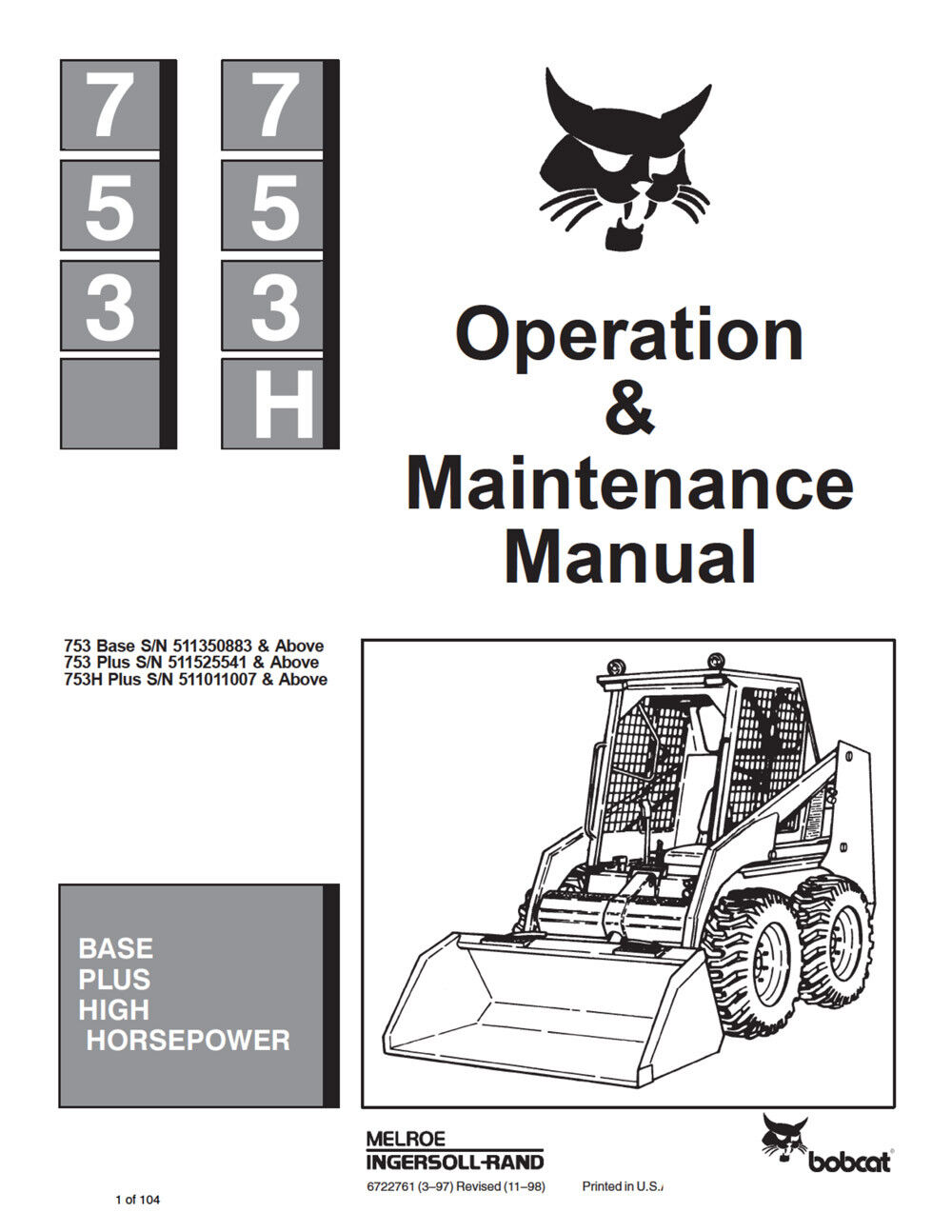 New Bobcat 753 Skid Steer Repair Service Manual 1990