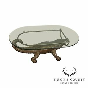 details about alligator base oval glass top coffee table