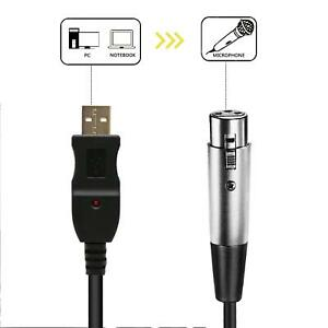 XLR Female to USB Male 3m 9ft Cable Cord Adapter Vocal
