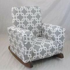 Kids Upholstered Rocking Chair Office Chairs With Adjustable Arms New Childrens Gotcha Gray Toddle Rock For Image Is Loading