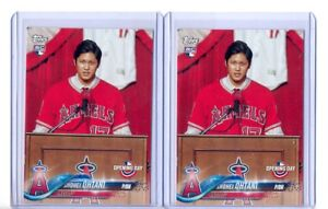 (2) 2018 TOPPS OPENING DAY SHOHEI OHTANI ROOKIE CARD RC ...