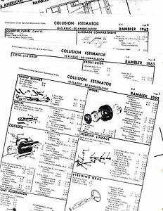 1963 RAMBLER CLASSIC AMBASSADOR 63 BODY PARTS LIST FRAME