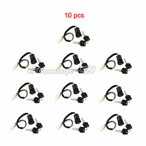 10pcs Ignition Key Switch 4 Wire Chinese Pit Pro Dirt