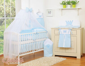 details about new little prince blue baby bedding set canopy holder only for cot cot bed