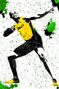 details about usain bolt jamaica sprinter art wall indoor room outdoor poster poster 24x36