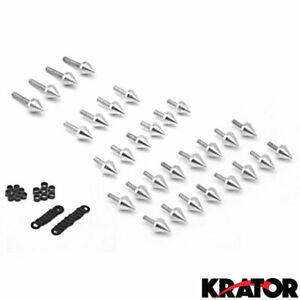 2001 2002 2003 Silver Spike Fairing Bolts Washers Kit For