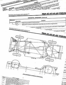 1960 1961 1962 1963 1964 CORVAIR FRAME DIAGRAM CHART WITH