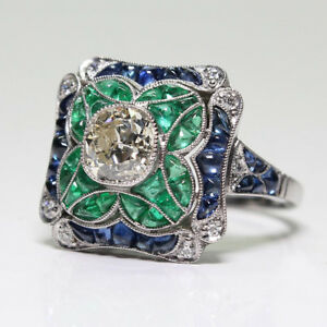 Vintage Art Deco Emerald Blue White Sapphire Silver Filled Wedding Proposal Ring