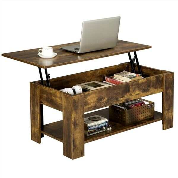 modern lift top coffee table w hidden storage shelf for living room reception
