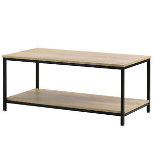 details about industrial coffee table for living room with storage shelf wood look metal frame