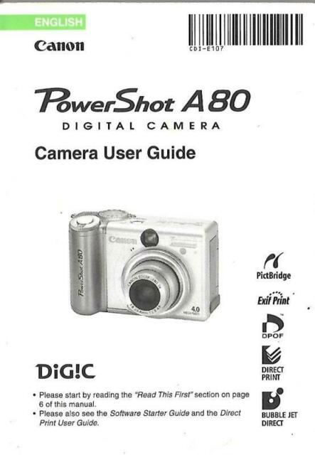 Canon Powershot A80 Original Camera User Guide Instruction