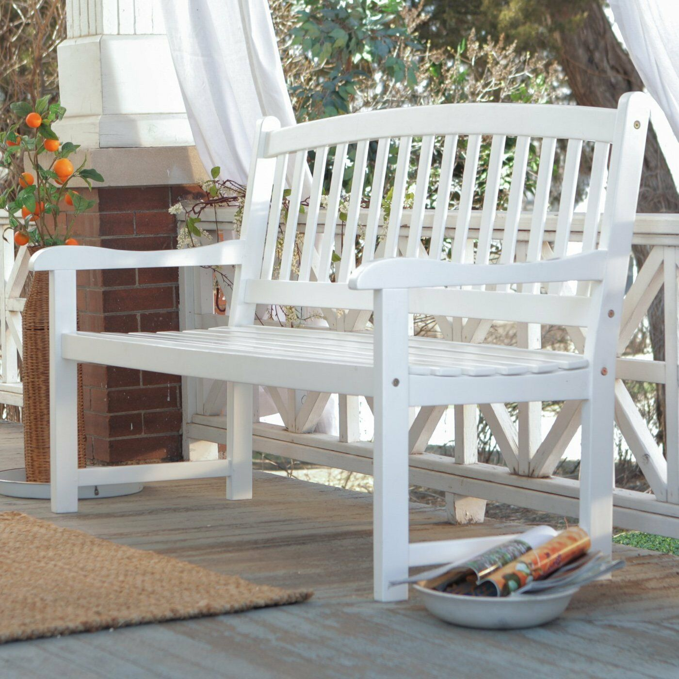 white outside chairs low seating patio bench wood outdoor yard deck park porch garden