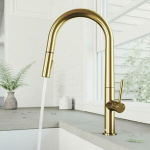 details about greenwich single handle pull down sprayer kitchen faucet in matte gold by vigo