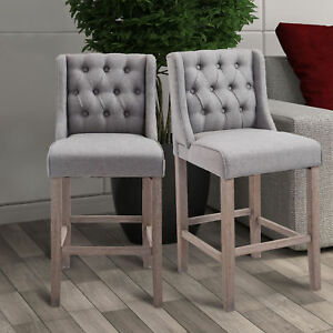 accent dining chairs swing hammock chair 40 tufted counter height bar stool furniture details about set of 2 gray