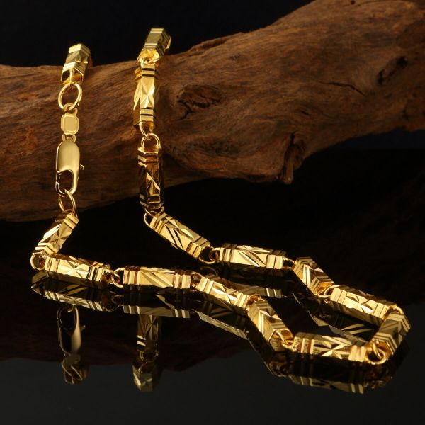 Xxl Solid Gold Necklace Mens Chain 24k Yellow Filled 60cm Jewelry