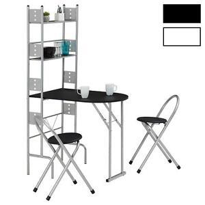 details sur ensemble table de cuisine pliable comptoir avec etageres et 2 chaises en metal