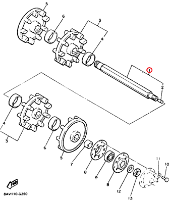 60% Off 1991-1993 Exciter II LE Front Axle Yamaha OEM