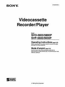 Instruction Operating User MANUAL for SONY SVO-5800 SVP