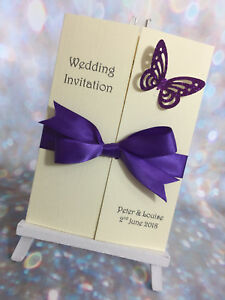 Details About 1 X Glitter Erfly Gatefold Wedding Invitations Sample 27 Colours