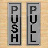 Push & Pull Door Stickers (Silver Vinyl)