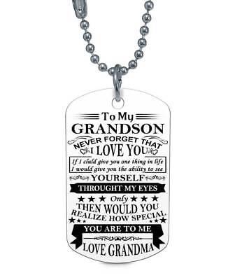 To My Grandson Forget Love Grandma Dog Tag Birthday