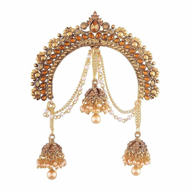indian hair accessories bridal juda bun gold plated wedding