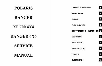 Polaris 2007 Ranger XP 700 4x4 6x6 service manual in 3ring