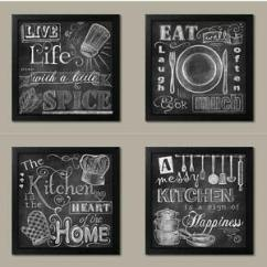 Kitchen Signs For Home Cherry Wood Cabinets Photos New Set Of 4 Black Framed Chalk 12 X12 Eat Heart Details About Happiness