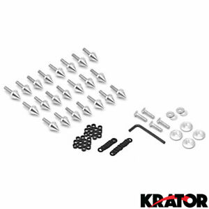 New Silver Spiked Fairing Bolts Washers Kit For 1998 1999