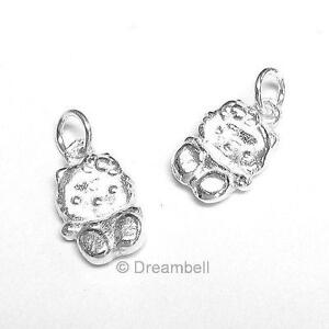 2x Bright Sterling Silver Kitty Cat Dangle Bead Charm