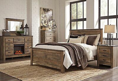modern rustic brown w fireplace bedroom furniture 5pcs king size bed set ia2f 608938919502 ebay