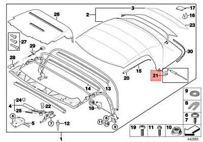 Genuine BMW Z3 Rivets Folding Rooftop Mount Parts Repair