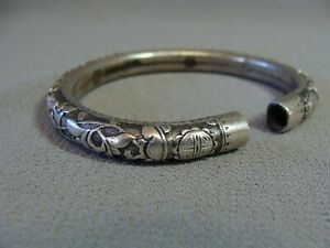 Antique Chinese Export Silver Hand Carved Relief Signed Bracelet
