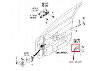2003-2006 KIA SPECTRA OEM FRONT DRIVER GRAY DOOR HANDLE
