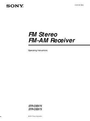Sony STR-DE975 STR-DE875 AV Receiver Owners Manual Printed