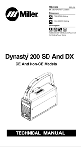 MILLER DYNASTY 200 SD & DX EFFECTIVE WITH LC339215 SERVICE