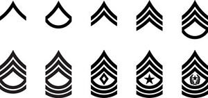 Set of 2 US Army Ranks Vinyl Sticker Decals E-2 Private
