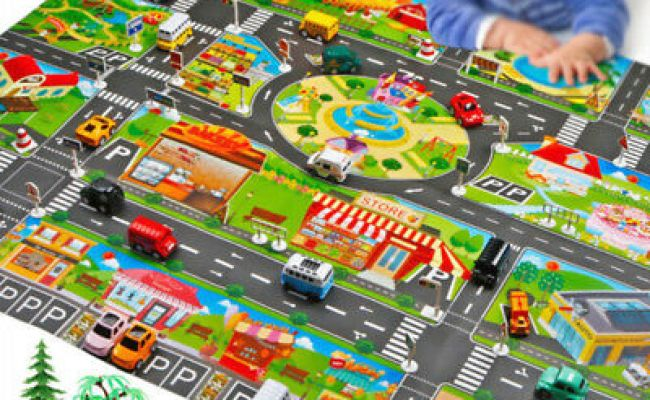 Play Mat City Road Buildings Parking Map Game Scene Toy