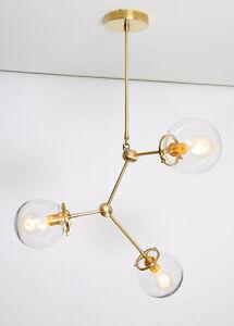 Image Is Loading Modern Brass Globe Chandelier Lighting Fixture 3 Clear