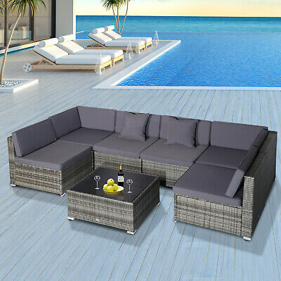 outsunny modern low back rattan chair sofa outdoor sectional patio furniture 7 842525133777 ebay