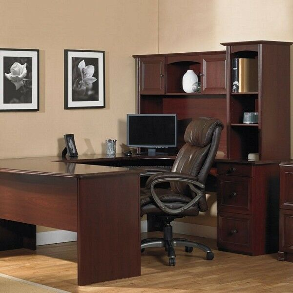 UShaped Office Executive Desk WITH Hutch Cherry Lshape