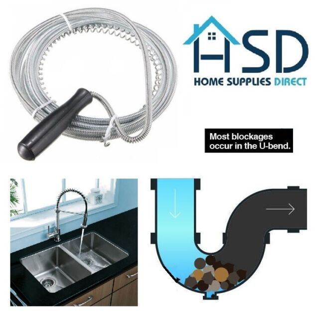 3mt long drain unblocker waste pipe cleaner kitchen sink plunger wire snake rod